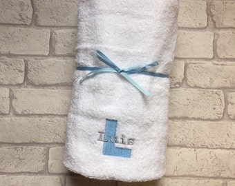 Personalised baby towel. Personalised Block Letter towel. Baby shower gift. New born baby present Toddler swimming towel.