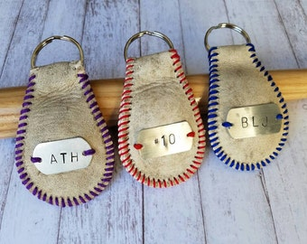 Baseball Keychain, Coach gift, Baseball Fan, luggage tag, custom baseball keychain
