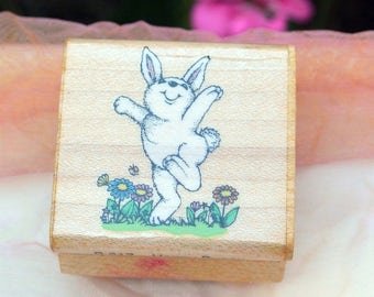 1990 Bunny Rubber Stamp - UNUSED - Happy Bunny, Hero Arts Rubber Stamps - Vintage - Fabulous!