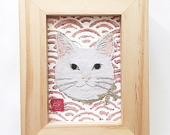 White Cat Art, Cat Gifts, Cat Artwork, ACEO Orginal, Modern Japanese Art
