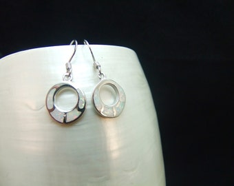 White Opal Silver Drop Earrings