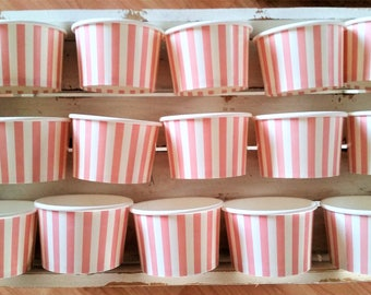 SALE - 15 Pink striped paper cups/bowls - 8oz/200ml ice-cream cups - party/wedding dessert cups - pink baby shower/birthday cups