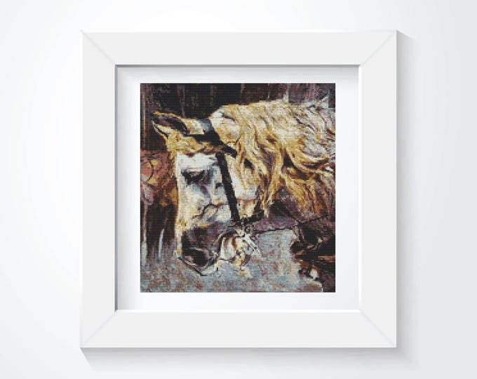 Cross Stitch Pattern PDF, Embroidery Chart, Art Cross Stitch, The Head of a Horse by Giovanni Boldini (BOLD01)