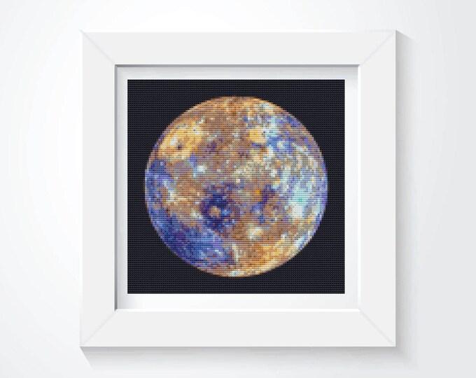 Cross Stitch Pattern PDF, Embroidery Chart, Space Cross Stitch, Planet Cross Stitch, Planetary Series: Mercury! (TAS110)