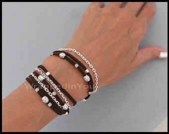Boho Wrap Bracelet - Beaded Faux Suede Triple Wrap Adjustable Cascading Stackable Tibetan Style CUSTOM Bracelet - COLOR / SIZE  Usa - 785