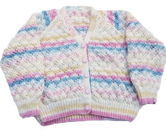 Hand knitted girl's stripey V neck cardigan - knitted girls clothes - children's clothing - children's knitwear - 26 inch chest