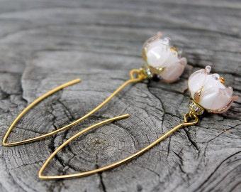 Lampwork Flower Earrings, Glass Roses Lampwork Earrings, Floral Lampwork Earrings, Floral Earrings, Earrings, Hook Earrings, Lampwork Beads