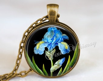 IRIS Necklace Pendant Jewelry, Iris Keychain, Iris Flower Necklace, Vintage Iris Botanical Art, Gift for Gardener Florist Blue Iris  Flower