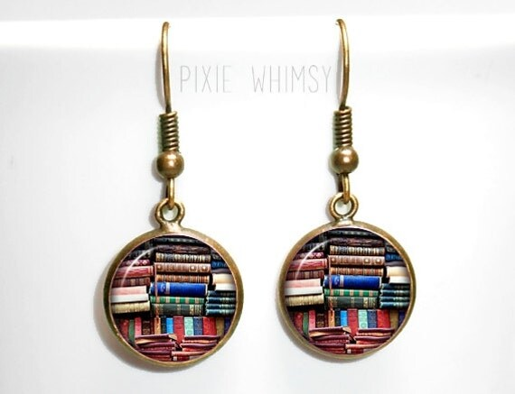 book earrings book dangle drop earrings vintage antique books
