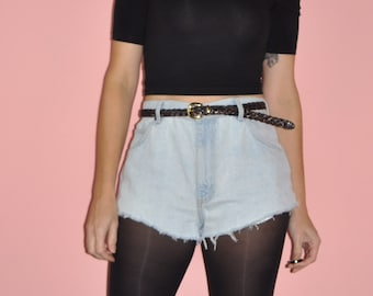 Vintage 80s 90s High Rise Faded Frayed Denim Jean Cut Offs Shorts M 10