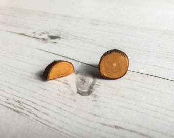 Odd Wood Earrings: sustainable apple wood studs, eco friendly tree earrings, reclaimed upcycled jewellery. Ideal for mothers day gift.