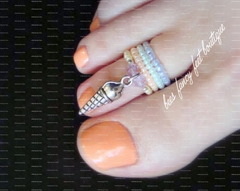 Stacking Toe Ring | Rainbow Sherbert | Sherbet | Ice Cream Cone Charm | Stretch Bead Toe Ring