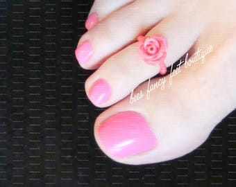 Toe Ring | Mini Pink Rose | Stretch Bead Toe Ring