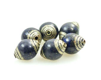 Tibetan Bead-Tibetan Lapis Bead-Nepal Silver-Lapis Lazuli-Tibetan Focal Bead-NepalLapis Bead-Lapis and Silver-Large Lapis Focal Bead