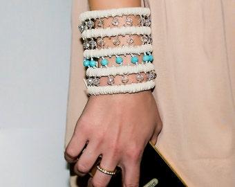 """Bracelet wallet """"Secret"""" beige and blue . Wrist Wallet . Bracelet for money . Wide bracelet with a pocket , hand-made"""