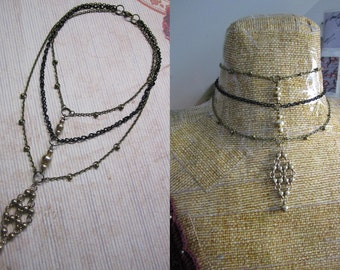 Upcycled Black & Brass Multi-Chain Beaded Choker Necklace