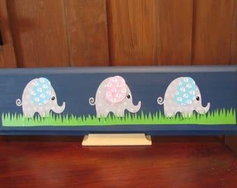 Children's Three Elephant Sign