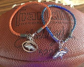 Denver Broncos Braided Leathet Charm Bracelet