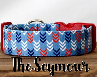 "Navy, Red & White Modern Arrow Geometric Dog Collar ""The Seymour"""