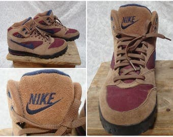Vintage Retro Women's 90's Nike Hiking Boots Blue Maroon Red Brown Leather Ankle Boots size 9.5