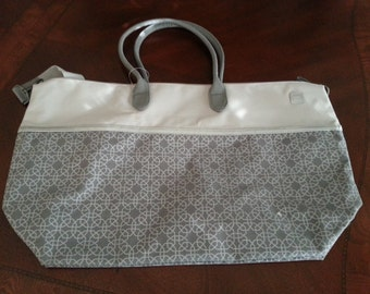 Personalized large overnight tote in silver