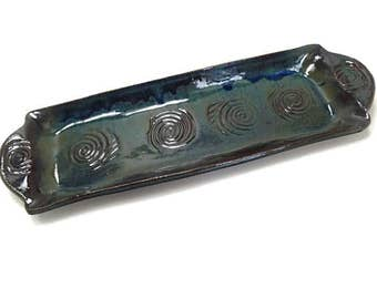 Appetizer Plate, Rustic Kitchen Décor, Snack Tray, Asparagus Dish, Bread Dish, Dark Blue Pottery Dish, Hors doeuvres Plate, Sushi Tray