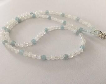 Aquamarine, moonstone and crystal quartz necklace