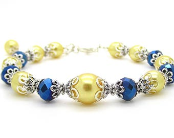 Navy and Yellow Bridesmaid Jewellery Navy Blue and Yellow Wedding Canary Bridal Jewellery Bridesmaid Gift Pearl Bridal Sets Sunflower Yellow
