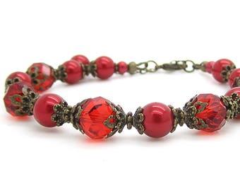 Red Pearl Antique Bronze Bracelet, Apple Bridesmaid Jewellery, Red Bridal Sets, Rustic Wedding, Red Bridesmaid Bracelet, Bridal Party Gift