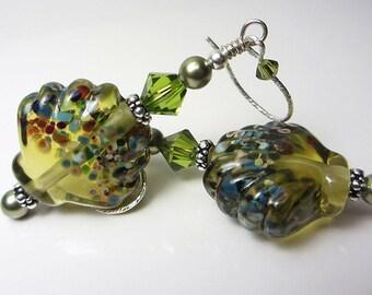 Artisan Lampwork Earrings Seashell Earrings Ocean Earrings Olive Green Earrings Beach Jewelry Olivine Earrings  Ocean Lampwork Earrings Gift