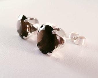 Smoky Quartz, Smoky Quartz Earrings, Natural Smoky Quartz Earrings, Smoky Quartz Studs, Gemstone Earrings, Brown Earrings, Quartz earrings