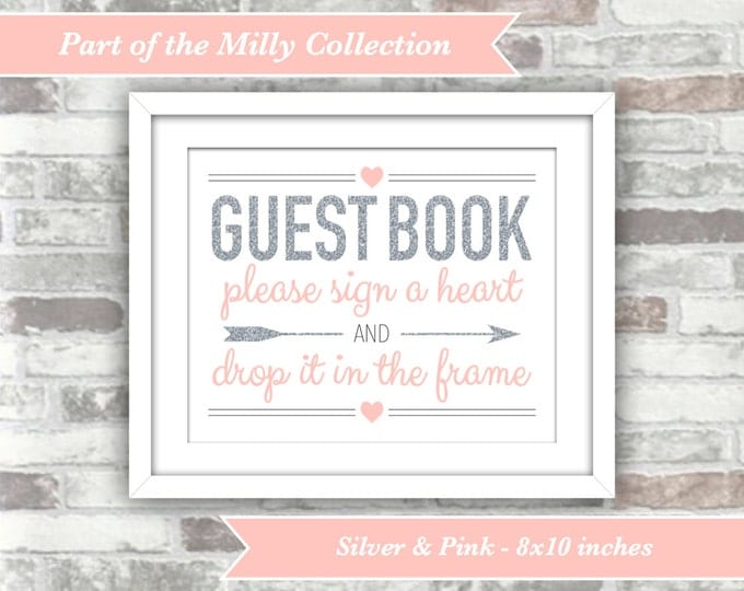 INSTANT DOWNLOAD - Milly Collection - Printable Wedding Heart Drop Top Guest Book Guestbook Sign - 8x10 Digital Files - Silver Blush Pink