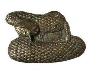 Vintage Rattlesnake Belt Buckle - Scary - Serpent - Reptile - Venom - Tongue - Desert Arizona California - Charmer - Men's Solid Brass