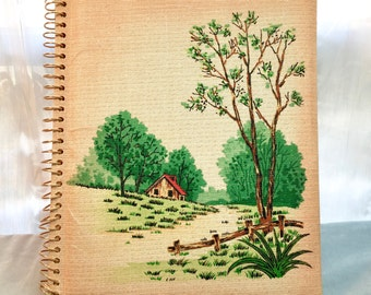 Vintage Photo Album. Spiral. Green, Flecked, Cloth Covers. Trees.
