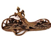 Art Nouveau Solid Bronze Display Tray -  Vanity Tray - Belle Epoque - Woman Garden Sculpture - Desk Display - Object d'Art - Downton Abbey