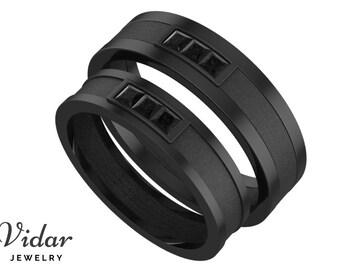 Unique Matching Wedding Band Black Diamonds Matching