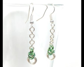Sterling Silver Chainmaille Earrings - Byzantine Drop - Forest Green