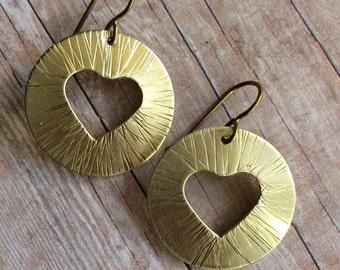 Heart cutout earrings, hammered brass, love earrings, on SALE, ready to ship
