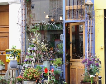 Classic Parisian florist façade, fine art paris photography, travel photo, Bleuet Coquelicot