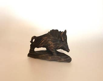 Beautiful and interesting carved wood wild Boar