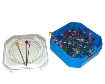 Pearl Head Dressmakers Pins in Hexagonal Box with Clear Lid