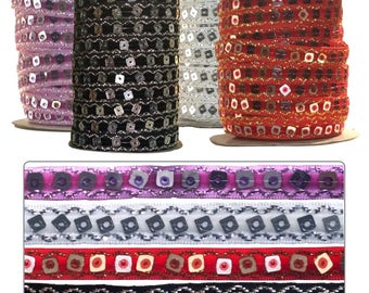 Velvet Ribbon Square Sequin Paillette 1mt - 32mtr roll Black, Red, Lilac, Silver