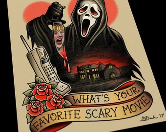 Wes Craven Scream Tattoo Flash Art Print