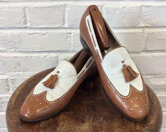 Vintage Florsheim Imperial Two Tone Brown and White Tassel Loafer Wingtip Shoes. Size 8 1/2 D