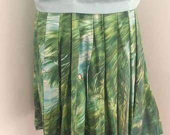 Vintage Handmade John Wolf Textiles Novelty Print Green Deer Fawn Skirt