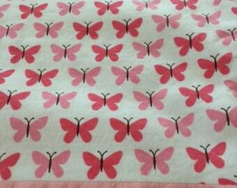 Pretty Pink Butterflies: baby girl flannel blanket
