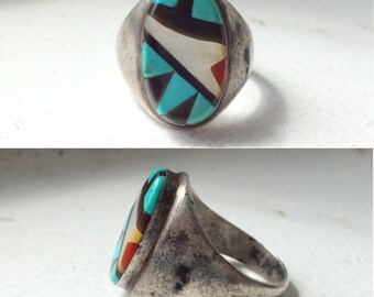 vintage Native American sterling silver turquoise onyx mother of pearl coral inlay men's southwestern ring size 11.25