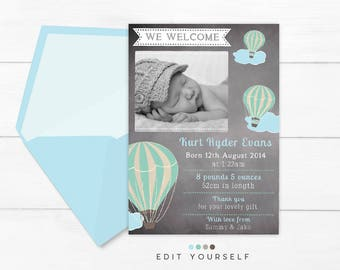 BIRTH ANNOUNCEMENT, Printable BABY Thank you Card, Boy Birth Announcement, Hot Air Balloon Vintage Chalk Portrait Birth Announcement