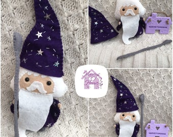 Handmade Collectable Felt Character Magical Wizard Made To Order