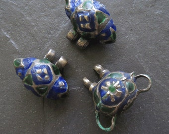 Three Vintage Multan Enamel Pendants Pakistan